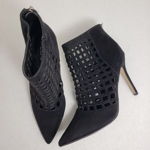 Aldo Black Caged Closed-Toe Zip Ankle Booties Sz 8